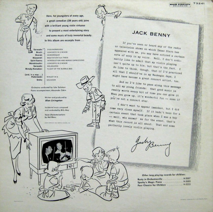 Jack Benny Plays Bee Back Cover