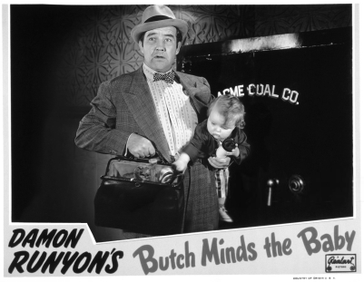 butch minds the baby lobby card bw